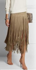 Brązowa spódnica Yaze midi z bawełny