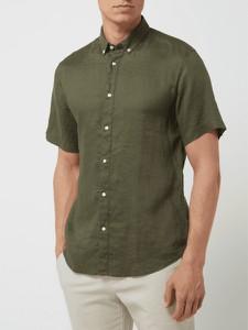 Zielona koszula Bruun & Stengade w stylu casual z lnu z krótkim rękawem