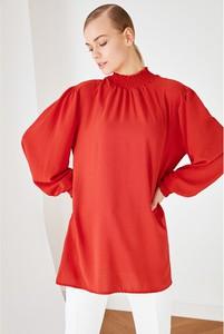 Bluzka Trendyol z okrągłym dekoltem z długim rękawem w stylu casual