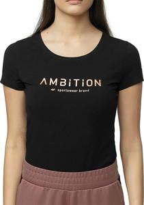 Czarny t-shirt 4F z okrągłym dekoltem w sportowym stylu z bawełny