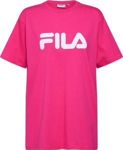 Różowa bluzka Fila z krótkim rękawem z okrągłym dekoltem