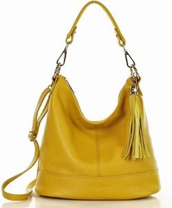 Żółta torebka MAZZINI w młodzieżowym stylu na ramię duża