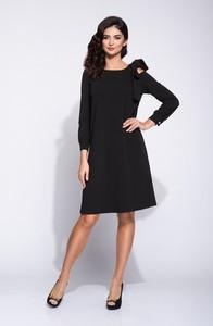 Czarna sukienka Bien Fashion midi z długim rękawem