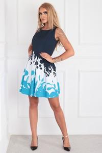 Sukienka Ptakmoda.com z okrągłym dekoltem rozkloszowana