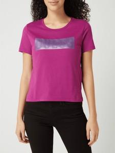 Różowy t-shirt Guess z okrągłym dekoltem z bawełny z krótkim rękawem