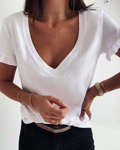 Bluzka Kendallme z dekoltem w kształcie litery v z krótkim rękawem