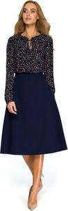 Niebieska sukienka MOE z długim rękawem z okrągłym dekoltem z szyfonu