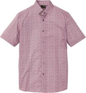 Różowa koszula bonprix bpc selection z krótkim rękawem z nadrukiem w stylu casual