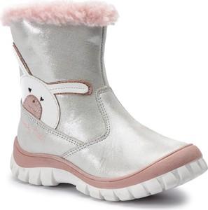 Srebrne buty dziecięce zimowe Lasocki Kids na zamek