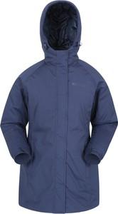 Granatowa kurtka Mountain Warehouse długa w stylu casual z tkaniny