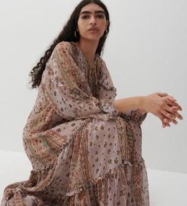 Brązowa sukienka Reserved z długim rękawem z dekoltem w kształcie litery v