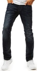 Granatowe jeansy Dstreet z bawełny w street stylu