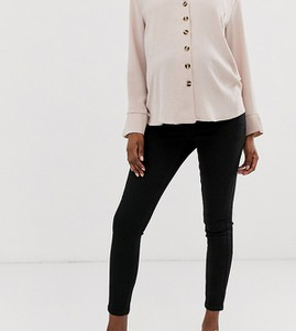 ASOS DESIGN Maternity – Ridley – Czarne, dopasowane jeansy z wysokim stanem i talią nad brzuch-Czarny