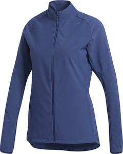 Niebieska kurtka Adidas w sportowym stylu z tkaniny