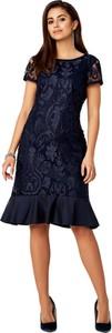 Granatowa sukienka POTIS & VERSO z krótkim rękawem z okrągłym dekoltem