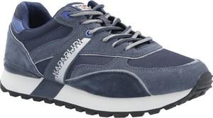 Niebieskie buty sportowe Napapijri sznurowane ze skóry