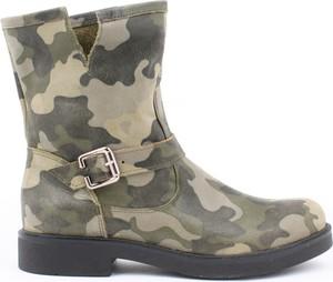 Botki Zapato na obcasie ze skóry w militarnym stylu
