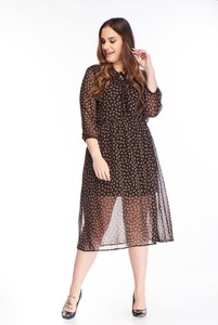 Brązowa sukienka N/A z długim rękawem midi