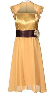 Pomarańczowa sukienka Fokus midi z krótkim rękawem rozkloszowana