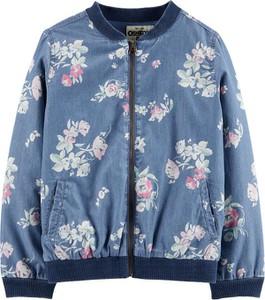 Niebieska kurtka dziecięca Carter's w kwiatki z jeansu