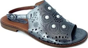Niebieskie sandały Lanqier z płaską podeszwą w stylu casual z zamszu
