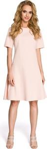 Różowa sukienka MOE w stylu casual z krótkim rękawem z okrągłym dekoltem