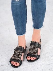 Czarne sandały Czasnabuty z klamrami w młodzieżowym stylu z płaską podeszwą