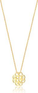 Caviallo Srebrny naszyjnik z ażurową zawieszką, pozłacany 24k złotem
