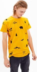 T-shirt Gate z bawełny z nadrukiem z krótkim rękawem