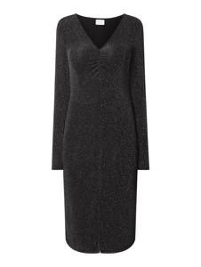 Czarna sukienka Vila z długim rękawem z dekoltem w kształcie litery v