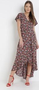 Granatowa sukienka born2be z krótkim rękawem w stylu boho