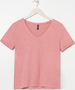 T-shirt Sinsay z dekoltem w kształcie litery v z krótkim rękawem
