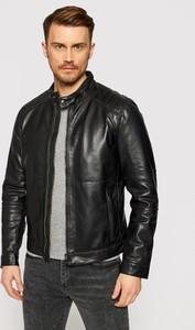 Czarna kurtka Joop! w stylu casual krótka ze skóry