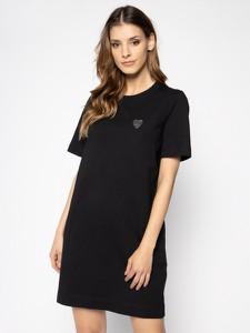 Czarna sukienka Love Moschino z krótkim rękawem z okrągłym dekoltem mini