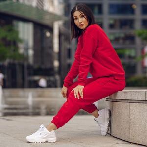 Czerwone spodnie sportowe DKDreskod z bawełny