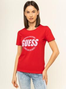 Czerwony t-shirt Guess z okrągłym dekoltem