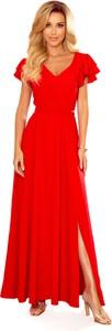 Sukienka Ptakmoda.com z dekoltem w kształcie litery v z krótkim rękawem maxi