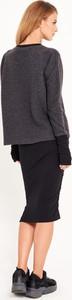 Czarna bluzka Byinsomnia w stylu casual z wełny z okrągłym dekoltem