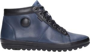 Granatowe buty zimowe Wojas sznurowane ze skóry