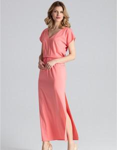 Różowa sukienka Figl maxi z krótkim rękawem