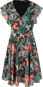 Sukienka Guess z krótkim rękawem mini z dekoltem w kształcie litery v