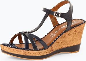 Czarne sandały Tamaris z klamrami ze skóry w stylu casual
