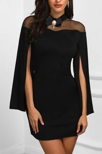Czarna sukienka Ivet.pl z długim rękawem mini