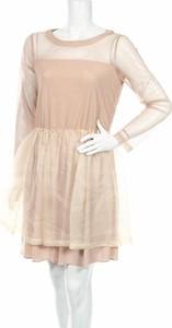 Brązowa sukienka Aniye By z długim rękawem z okrągłym dekoltem rozkloszowana