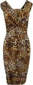 Brązowa sukienka Guess z dekoltem w kształcie litery v mini