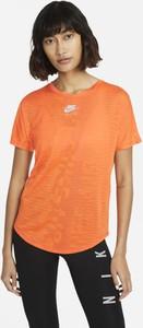 Pomarańczowy t-shirt Nike z krótkim rękawem w sportowym stylu z okrągłym dekoltem