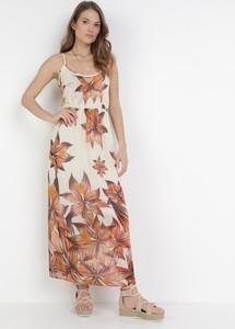 Sukienka born2be maxi z dekoltem w kształcie litery v na ramiączkach