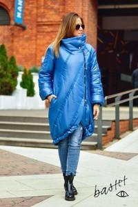 Niebieska kurtka Bastet Fashion w stylu casual długa