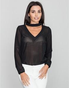 Czarna bluzka Figl z długim rękawem z dekoltem w kształcie litery v w stylu casual