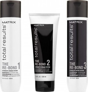 MATRIX TOTAL RESULTS The Re-Bond Zestaw Odbudowywujący włosy Zniszczone szampon 300ml, Kuracja przed odżywką 200ml, Odzywka 300ml